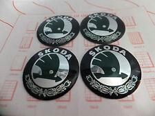 Skoda Wheel Centre Cap Logo Sticker Badge Emblem 55mm Set 4 NEW