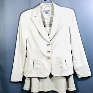 ANN TAYLOR Wool Blend Cream Blazer Skirt Suit 6P All Season Women's NWOT Career