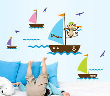 Monkey Sailing Kids Wall Art Stickers Kids Room Baby Nursery Decor Home Decal AU