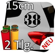 2x 15cm Nummer frei wählbar Startnummer Auto Autoaufkleber Rallynummer No.20
