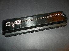 Playboy pink enamel circle crystal toggle clasp bracelet silver tone NEW