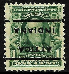 "Sc #300 ""Invert Attica Indiana"" Precancel 1901 Regular 1 Cent Franklin US 18A62"
