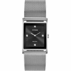 New Citizen Eco-Drive Axiom Men's Stainless Steel Watch BL6000-55E Mesh Bracelet