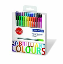 STAEDTLER New Triplus Fineliner 0.3mm Set of 30 Brilliant Colors