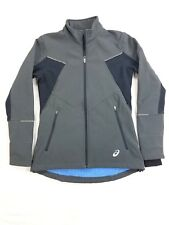 ASICS Mens Full Zip Jacket Lined Thumb Hole Coat sz Small gray Polyester