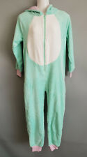 BNWT Girls Size 10 Mint Fleece Fabric Unicorn Hooded One Piece PJ Sleep Suit