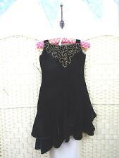 VINTAGE Oriental velvet black dress beaded lined LBD ruffled flirty party XS/XXS