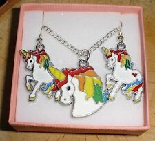 RAINBOW UNICORN NECKLACE AND DANGLE WHITE ENAMEL CHARM EARRINGS IN GIFT BOX