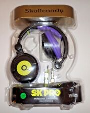 Skullcandy SK Pro Sparkle Motion Black Purple Yellow Skull DJ Headphones USED