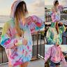 Womens Rainbow Tie Dye Long Sleeve Sweatshirt Tops Ladies Hoodie Pullover Jumper