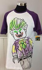NEW DC Comics Lego The Batman Movie Men's Large T Shirt S/S Joker White Purple