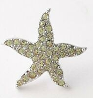 Auth Swan Sign Swarovski Yellow Crystal Starfish Tack Pin Brooch Lapel Pin Pave