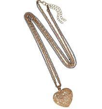 Halskette Herz goldfarben/schwarz 80 cm