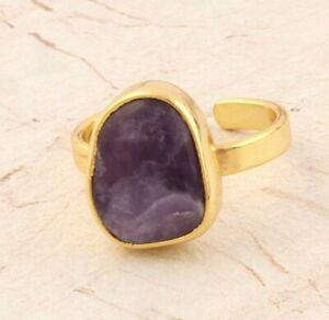 Polished Bio Amethyst Gemstone Gold Plated Handmade Adjustable Ring Jewelry