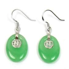 18X14mm Natural Green Jade 925 Silver Good Fortune Hook Earrings