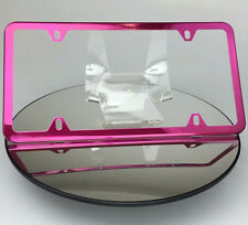 Slim Powder Coated Hot Pink 4 Holes Frame Holder Stainless Steel License Plate