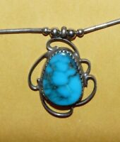 "~VINTAGE~NATIVE~NAVAJO~""OLD PAWN""~STERLING~SILVER & TURQUOISE~PENDANT~NECKLACE~"