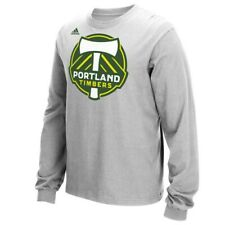 Portland Timbers MLS Adidas Men's Team Primary Logo Grey Long Sleeve T-Shirt