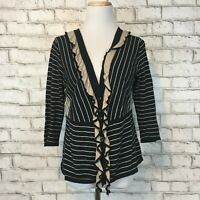 "Cabi Women's Black Striped ""The Flirt"" Cardigan Sweater Size Medium Style 276"