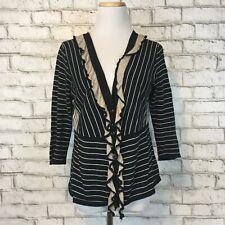 "Cabi Women's Black Striped ""The Flirt"" Cardigan Sweater Size Medium Style 276"