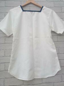 Vintage Royal Navy Sailor RN Class 2 Square Rig Neck White uniform T-shirt s 100