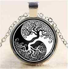 Ying yang Tree of Life Cabochon Glass Tibet Silver Chain Pendant Necklace