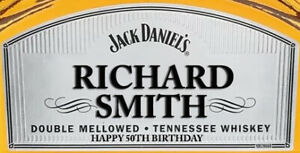 PERSONALISED GENTLEMAN JACK WHISKY BOTTLE LABEL - PARTY / BIRTHDAY WHISKEY 70CL