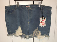 NWT Hot Kiss High Rise Shortie Blue Denim Cut Off Cotton Shorts Sz 22