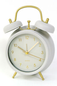 Grey Alarm Clock retro design Metal with glass front and gold Numbers and detail