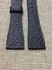 20mm BLACK STRAP  VINTAGE HIRSCH SADDLE  GENUINE LEATHER  WATCH BAND gold buckle