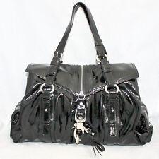FRANCESCO BIASIA Good Girl Large Black Patent Leather Pleated Satchel $522
