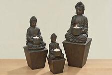 SEHR GROßES 3ER- SET BUDDHA TEELICHTHALTER DEKO STATUE FIGUR SKULPTUR FENG SHUI