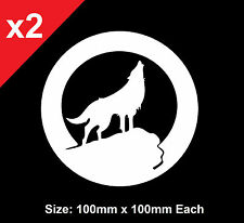 x2 HOWLING WOLF AND FULL MOON Sticker Decal Vinyl JDM Shop Car Ute 4WD Funny
