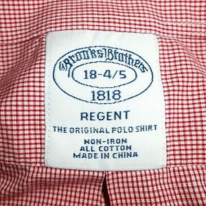 18-34/35 Brooks Brothers 'REGENT' Non-Iron Red & White Dress Shirt with Pocket