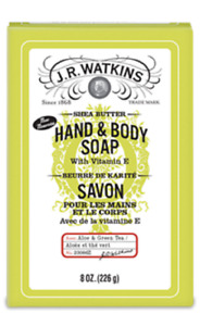 J.R. WATKINS HAND AND BODY SOAP BAR, ALOE AND GREEN TEA SHEA BUTTER, 8 oz.