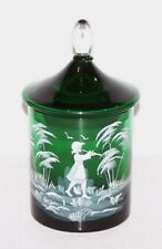 "STUNNING VINTAGE MARY GREGORY GLASS GREEN HAND PAINTED 6"" JAR WITH LID"