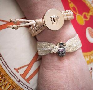 Bracciale Fatto A Mano Bottone Versace Medusa Vintage Tessuto Macramè