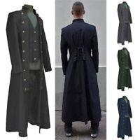 Men Medieval Jacket Pirate Costume Tailcoat  Adult Steampunk Halloween Coat Tops