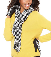 Charter Club Women's Chenille Houndstooth Fringe Scarf, Retail $48.00