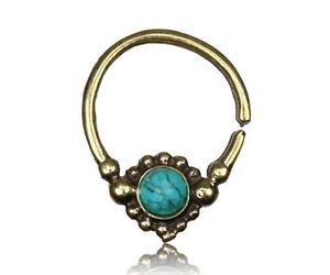 16G BRASS HANGING SEPTUM SMALL 9MM RING DIAMETER NOSE AFGHAN TURQUOISE STONE