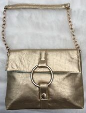 Gold Color Flap Bag with Handle & Satin Lining Evening or Day