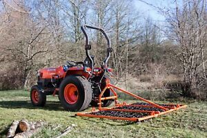 B-HF08 - British Framed Folding Harrow 8ft Wide 3 Way Tines For Compact Tractors