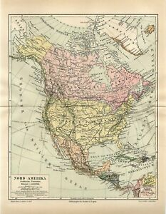 1888 NORTH AMERICA POLITICAL MAP USA CANADA MEXICO Antique Map dated