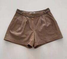 TIBI New York Tan Pleated Leather Shorts Size 4