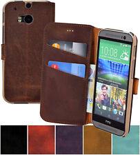 HTC One M8 M8s Funda Book Style Bolso de Cuero Genuino Móvil Carcasa Plegable