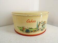 More details for vintage handiware metal cake tin container w/ lid retro cottage design j4