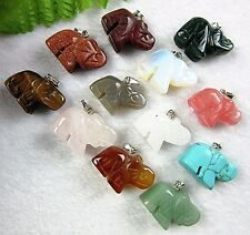 12PCS Beautiful mixed color mixed materials carved elephant pendant bead Vk902