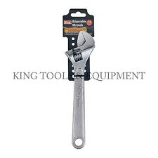 """KING 10"""" Inch Open-End ADJUSTABLE WRENCH, Chrome-Plated Steel Spanner, NEW"""