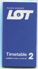 LOT POLISH AIRLINES SUMMER 2 TIMETABLE JUNE - OCTOBER 1980 POLAND