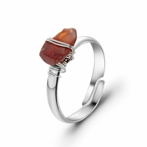 Wire Wrapped Crystal Reiki Healing Stone Natural Ring Women Party Jewelry Gift